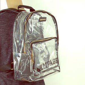 Rampage 🌟 Clear Glitter Varsity Logo Backpack NWT